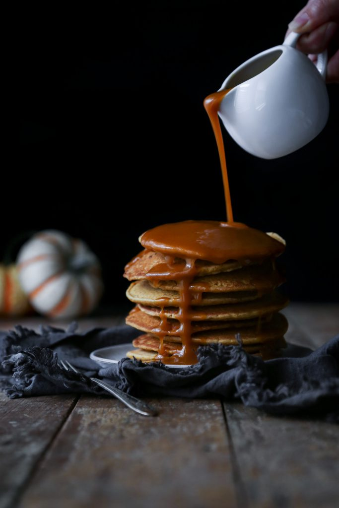 Vegan Pumpkin Spice Pancakes with Pumpkin Maple Syrup | Dairy, egg, and refined sugar free. Gluten free alternative included.