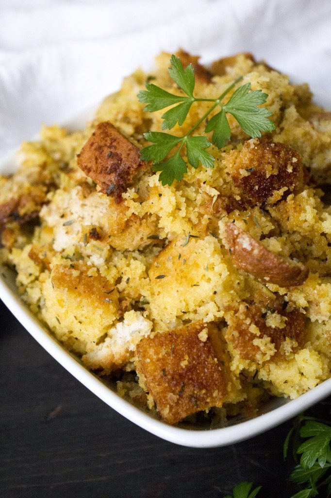 Slow Cooker Cornbread Stuffing | Can be adapted to be gluten, dairy, and egg free, as well as vegan!