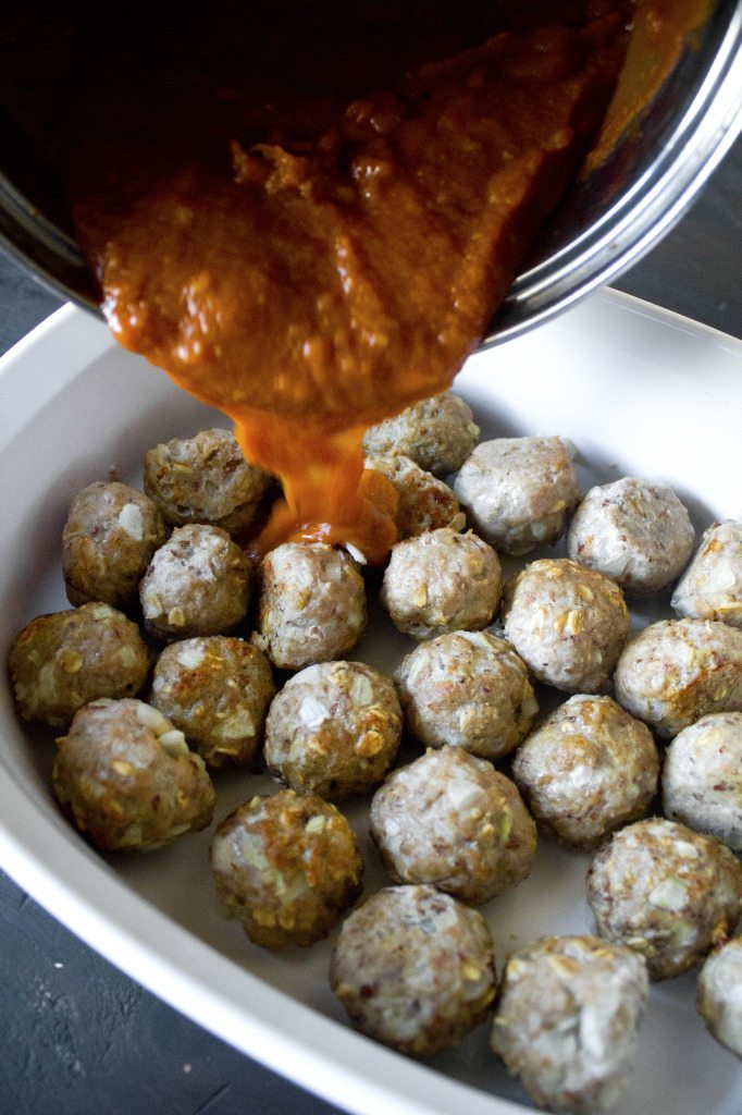 Pumpkin Barbecue Meatballs   Gluten, egg, and dairy free