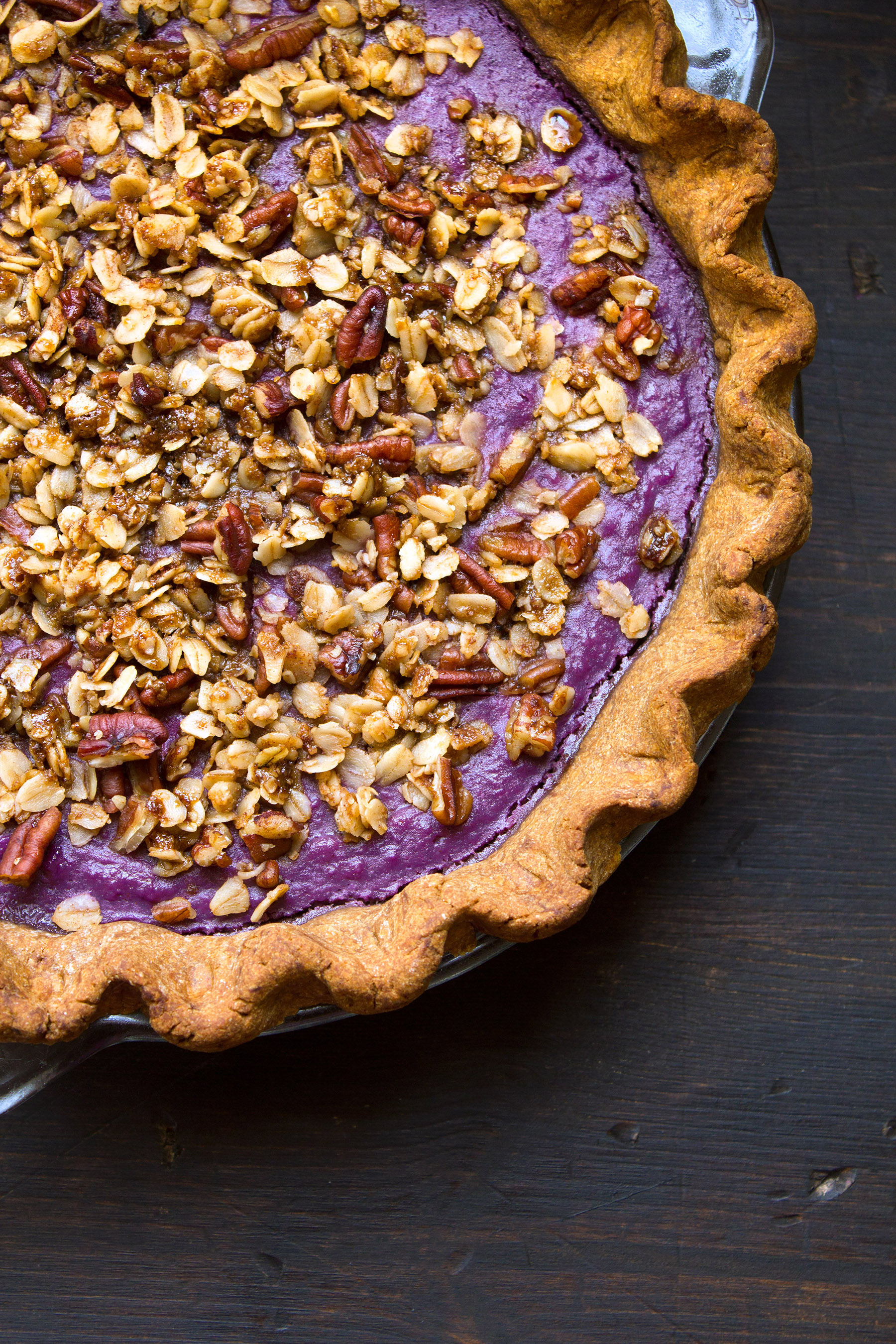 Purple Sweet Potato Pie with Gingerbread Crust