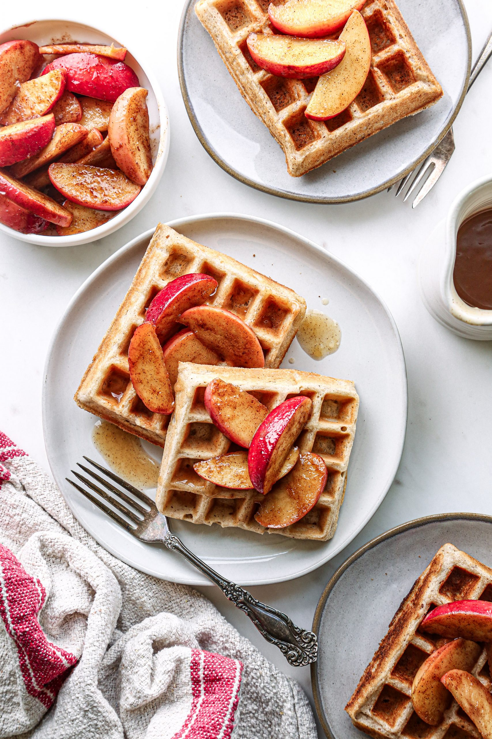 Apple-Cinnamon Waffles | Vegan friendly, plus gluten, dairy, and refined sugar free!