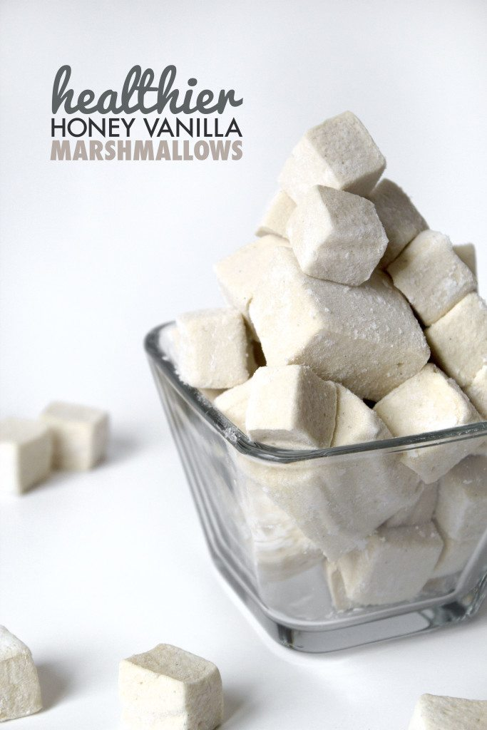 Healthier Homemade Vanilla Marshmallows | No refined sugars or corn syrup. Gluten, dairy, and egg free.
