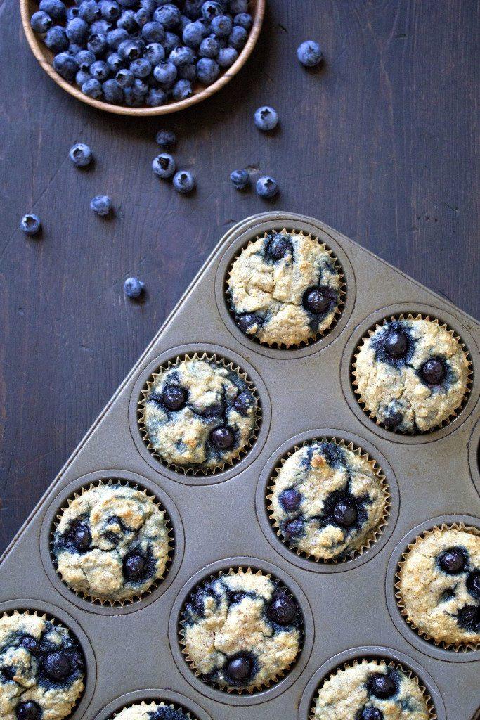 Paleo Banana-Blueberry Muffins | Gluten, grain, dairy, & refined sugar free