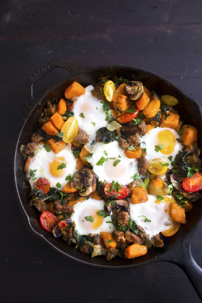 Sausage, Sweet Potato, & Kale Breakfast Skillet | Grain & Gluten Free