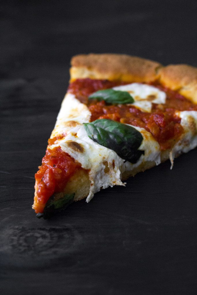 Margherita Pizza with a homemade gluten-free dough and sauce!