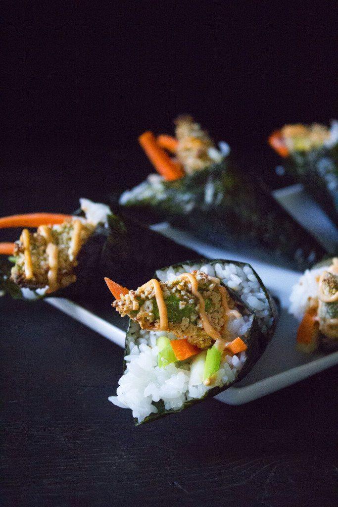 Crunchy Avocado Hand Rolls with Sriracha Mayo | Vegan and Gluten-Free
