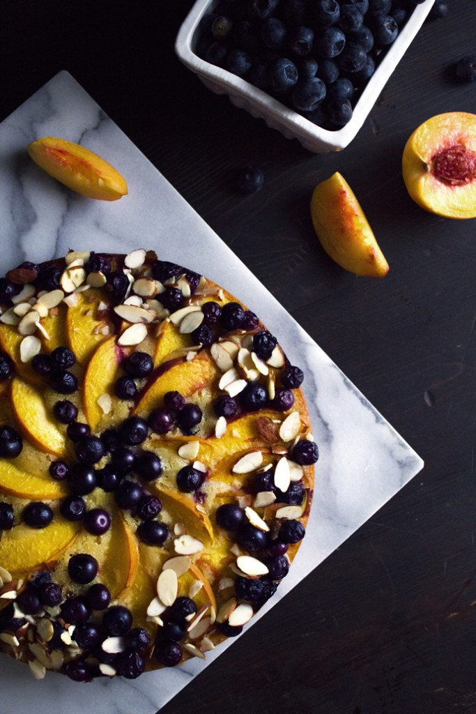 Blueberry Peach Coffee Cake | Gluten and Dairy Free Option
