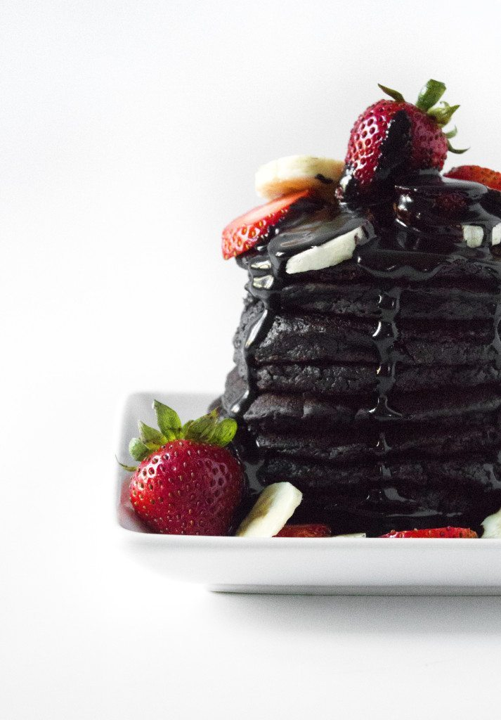 Chocolate Zucchini Pancakes | Made with wholesome ingredients. Gluten, dairy, and egg free.