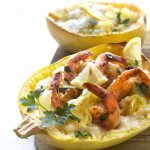 Creamy Spaghetti Squash With Shrimp Scampi | Paleo, Whole30, & Vegan Friendly
