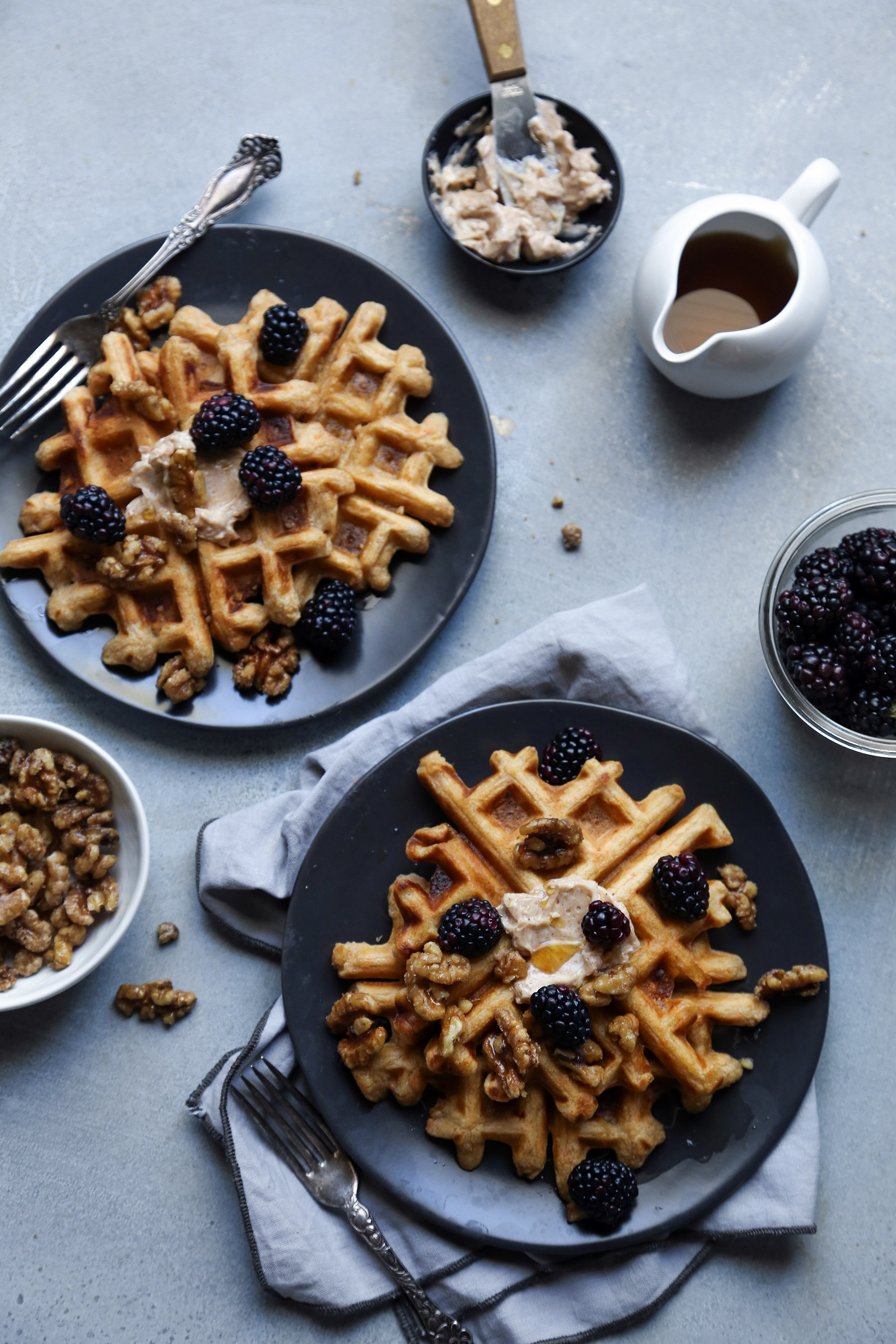 Sweet Potato Waffles with Maple Candied Walnuts & Honey Cinnamon Butter | Gluten, dairy, egg, and refined sugar free