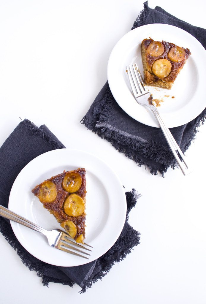 Salted Caramel Banana Upside Down Cake | Refined sugar free and a gluten free variation is also included.