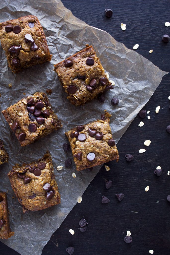 Chocolate Chip Coconut Oatmeal Bars   Free of Gluten, Dairy, and Refined Sugar