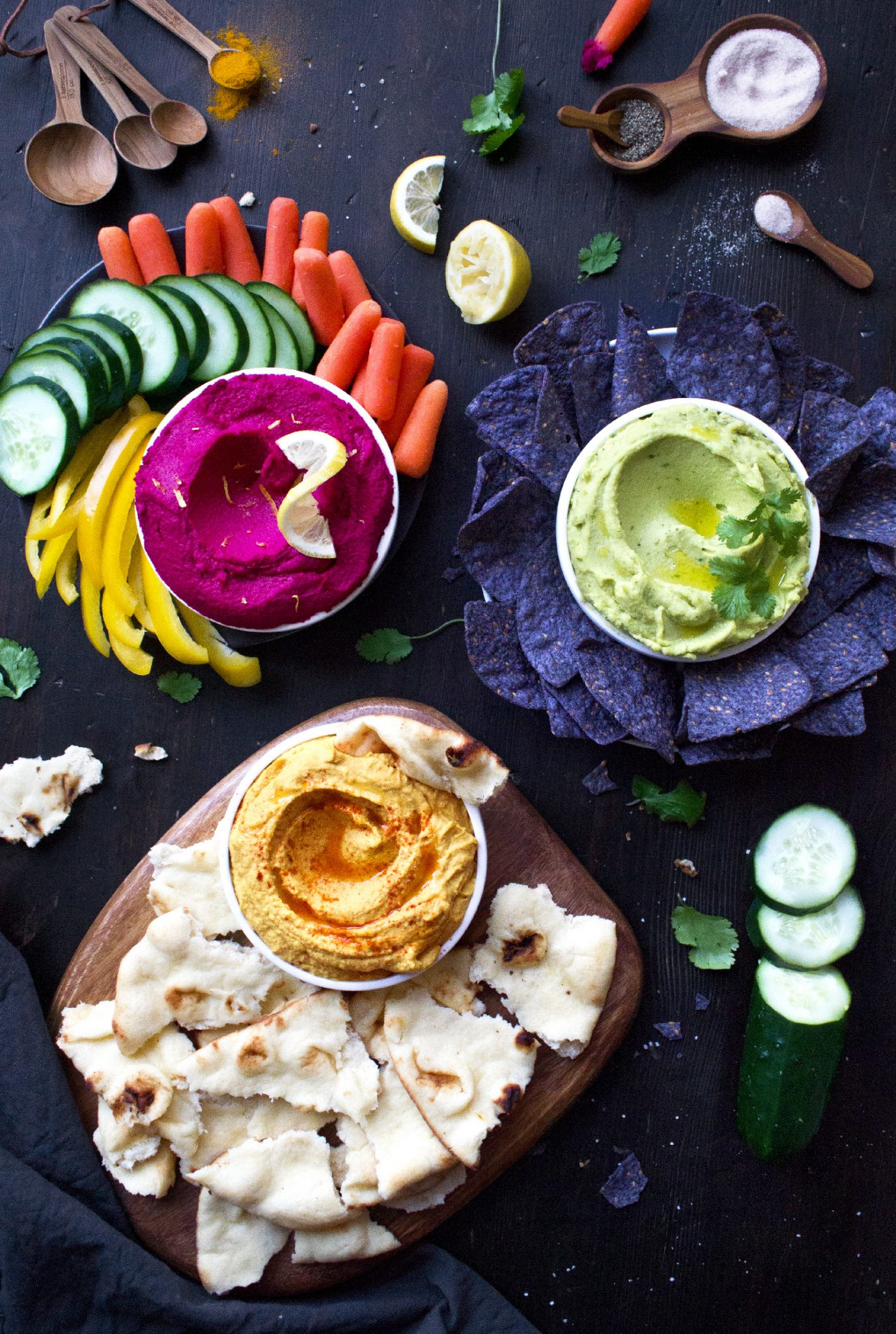 Beet, Guacamole, and Curry Hummus. Gluten and Dairy Free, Vegan-Friendly.