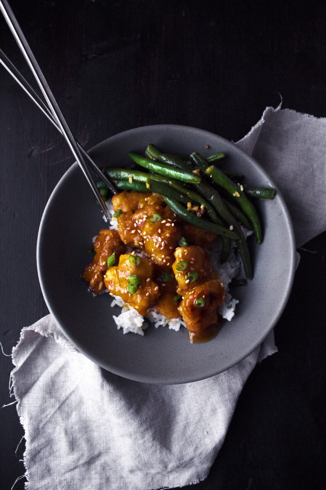 Orange Chicken With Ginger Garlic Green Beans | Free of gluten, dairy, and refined sugar. Made with wholesome ingredients.