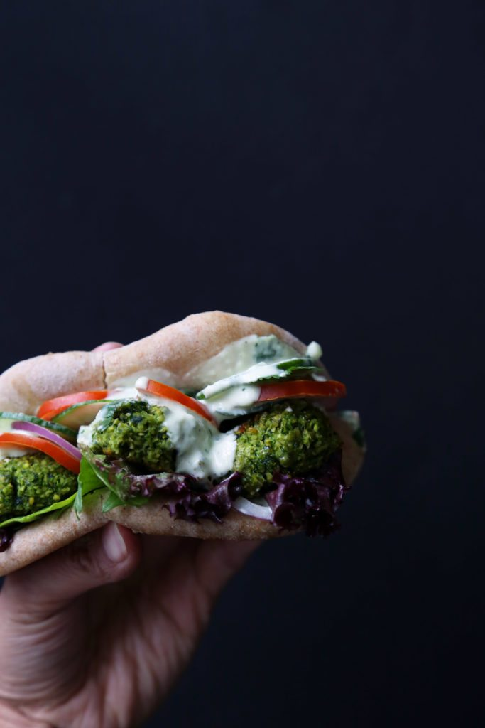 Baked Green Falafel Pita Sandwich | A delicious vegetarian, vegan, and dairy-free meal!