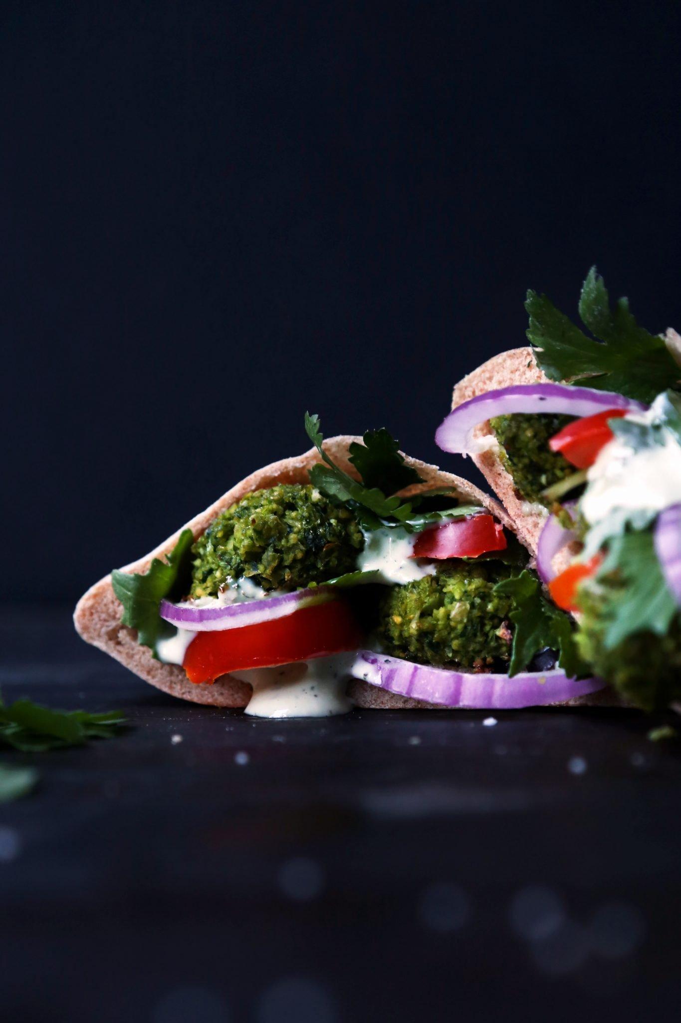 Baked Green Falafel Pita Sandwich Wife Mama Foodie