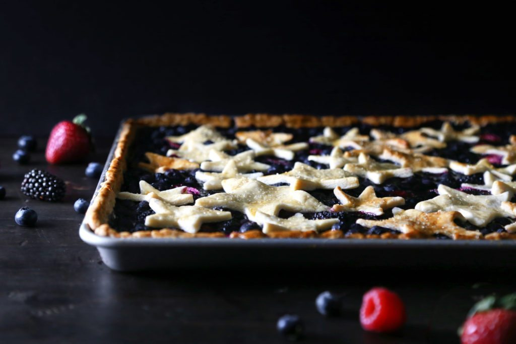 Mixed Berry Slab Pie | Vegan, refined sugar free, dairy free. Gluten-free variation included.