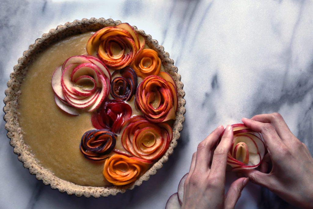 Stone fruit tart make flowers