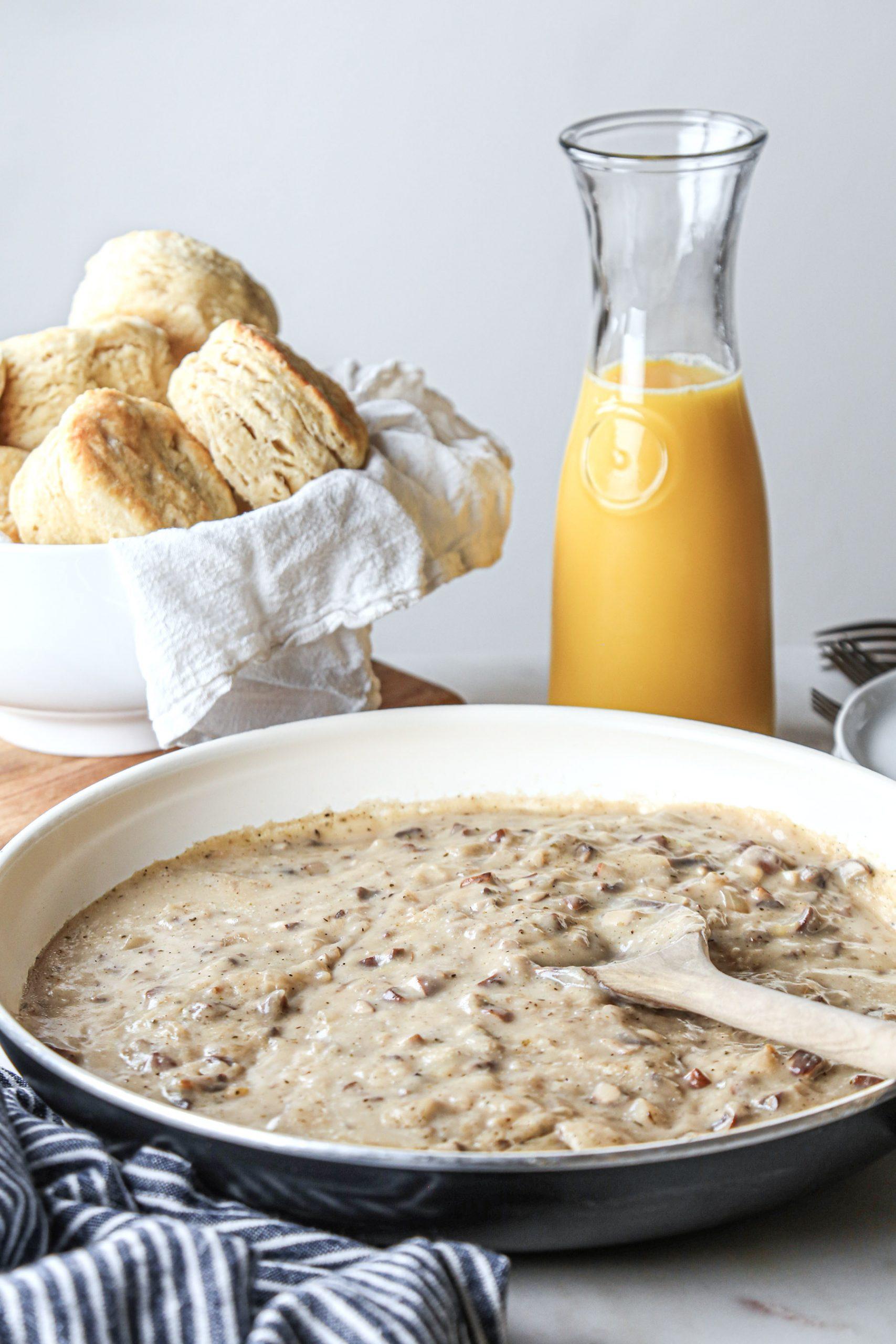 Fluffy Biscuits with Mushroom Gravy | Vegan with Gluten-Free Option