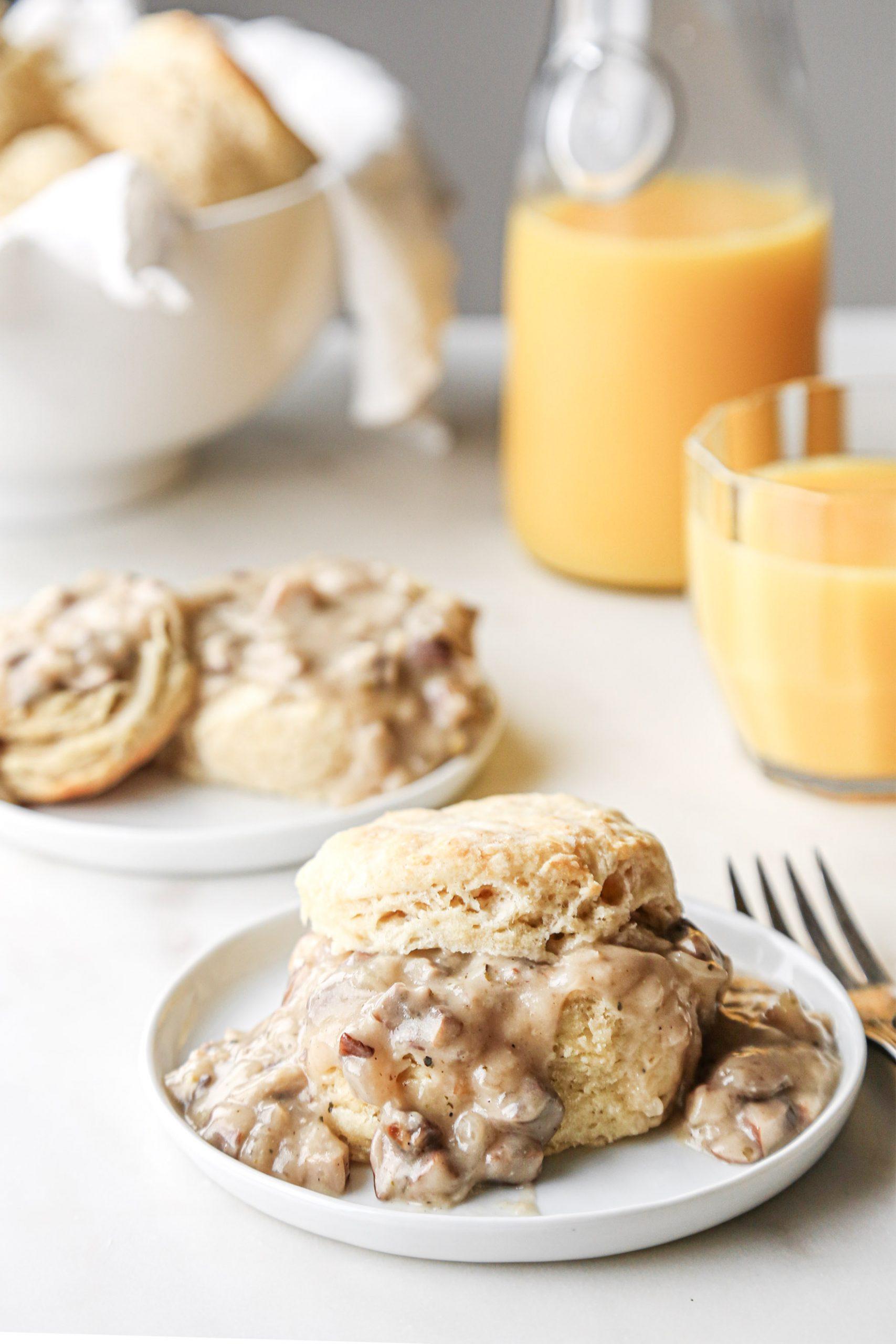 Fluffy Biscuits with Mushroom Gravy   Vegan with Gluten-Free Option