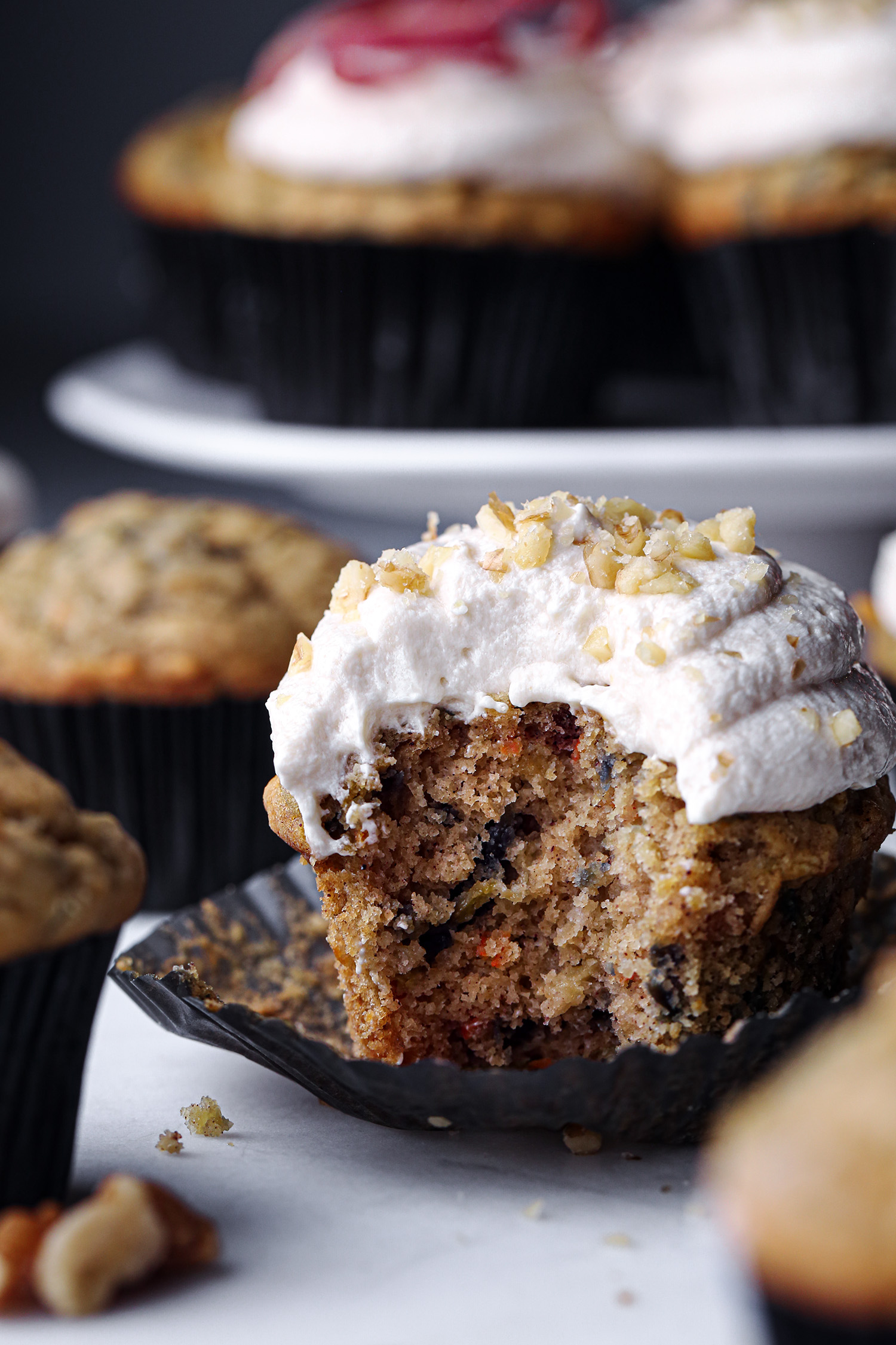 Rainbow Carrot Cake Muffins with Maple Cream Frosting | Free of gluten, dairy, and refined sugar!