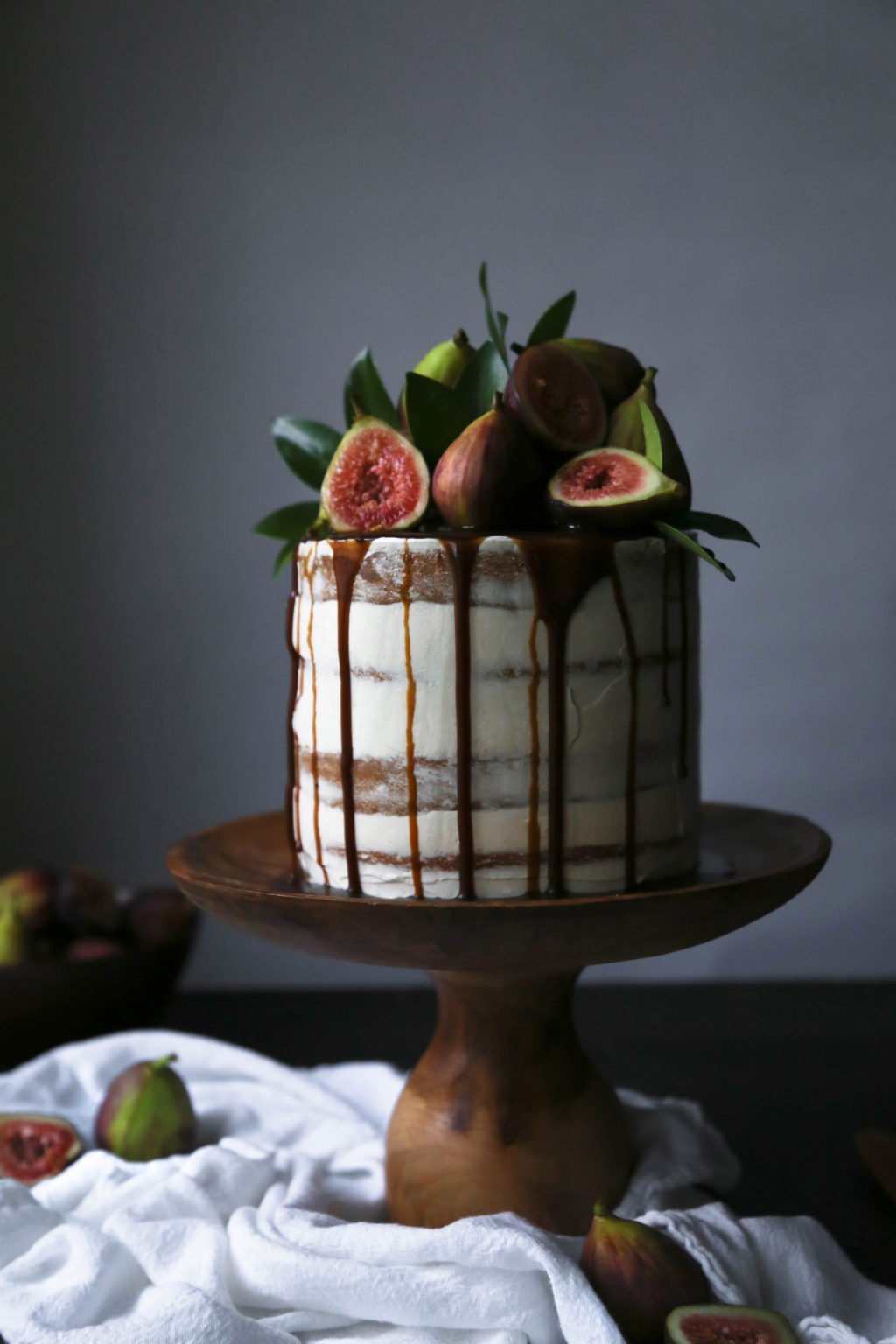 Chai-Spiced Cake with Fresh Figs and Caramel