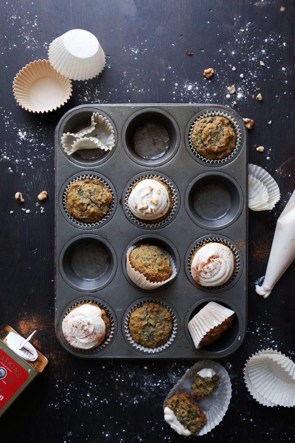 Rainbow Carrot Cake Muffins | Free of gluten, dairy, and refined sugar!