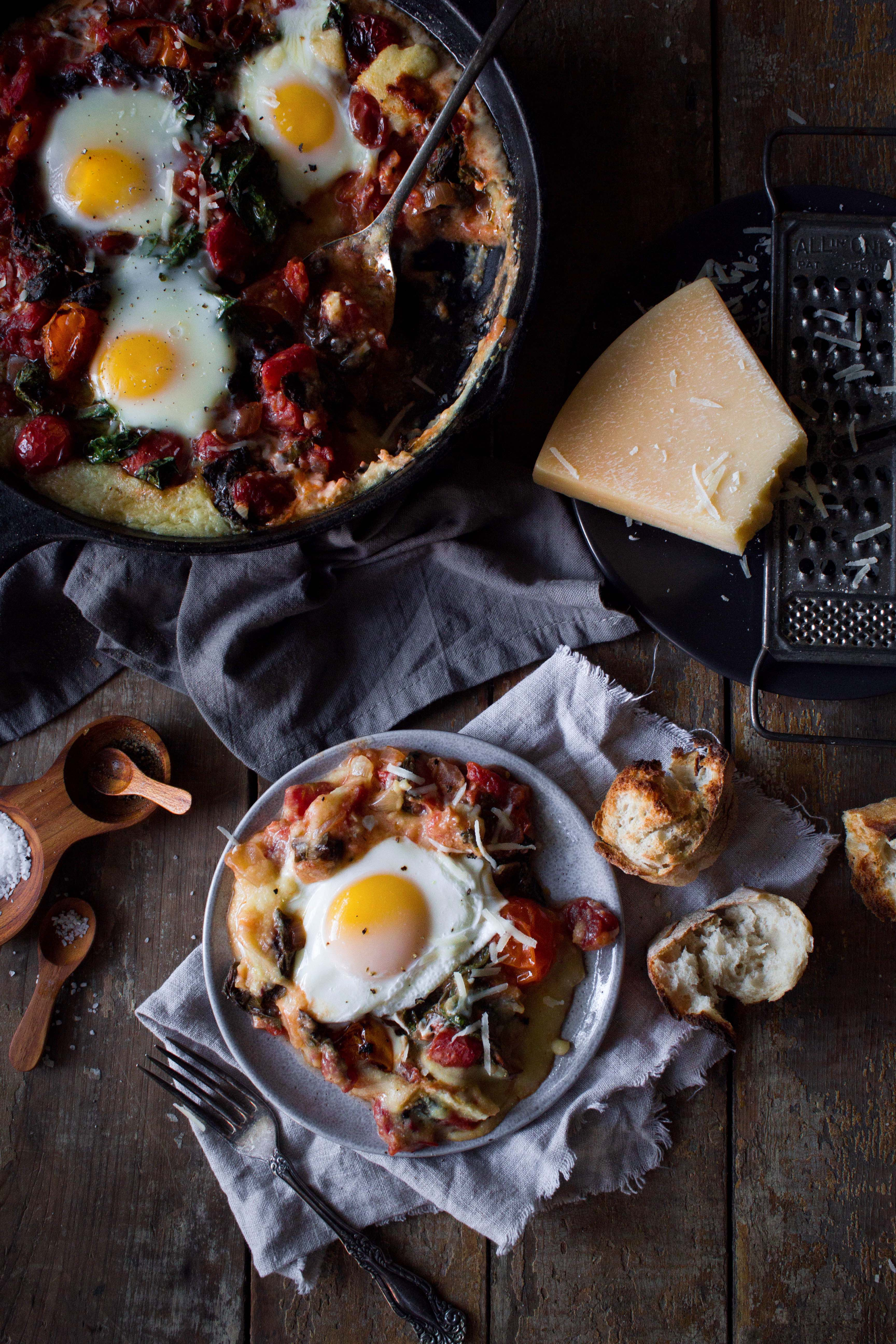 Baked Polenta with Tomato Poached Eggs