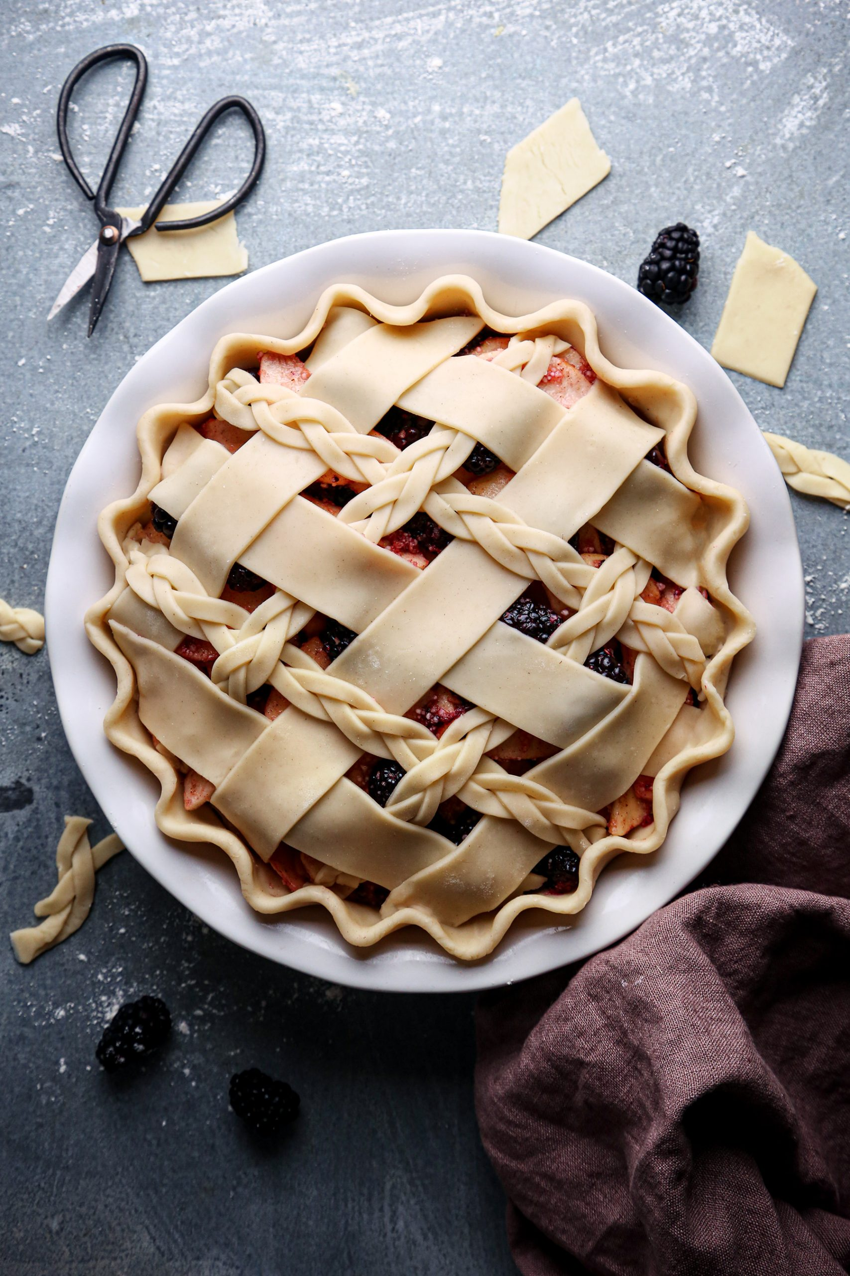 Apple Blackberry Pie Prebake | Vegan and Refined Sugar Free with Gluten Free Option