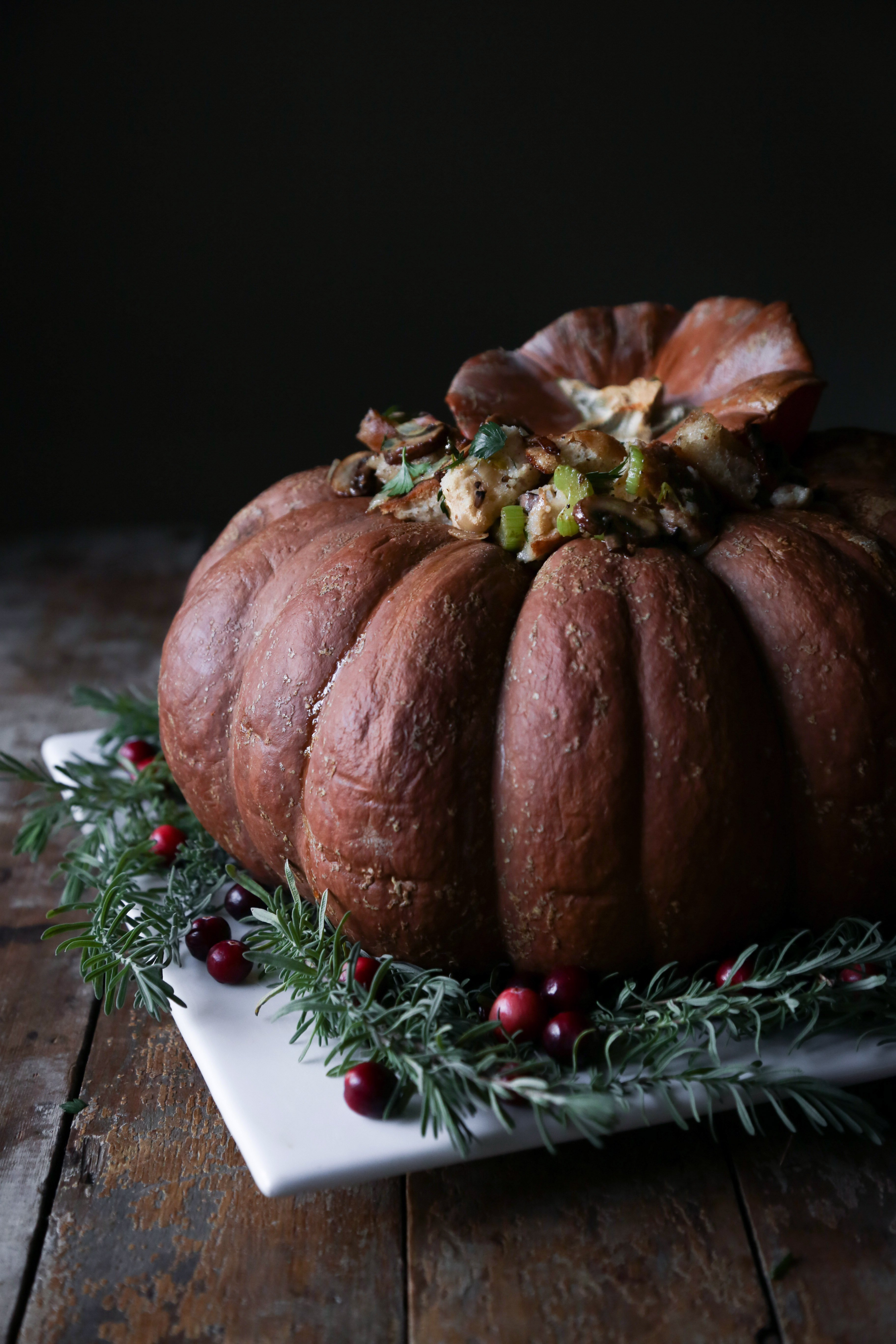 Baked Pumpkin Filled with Sourdough Stuffing   Vegetarian & vegan friendly. Can be easily adapted to be gluten and dairy free.