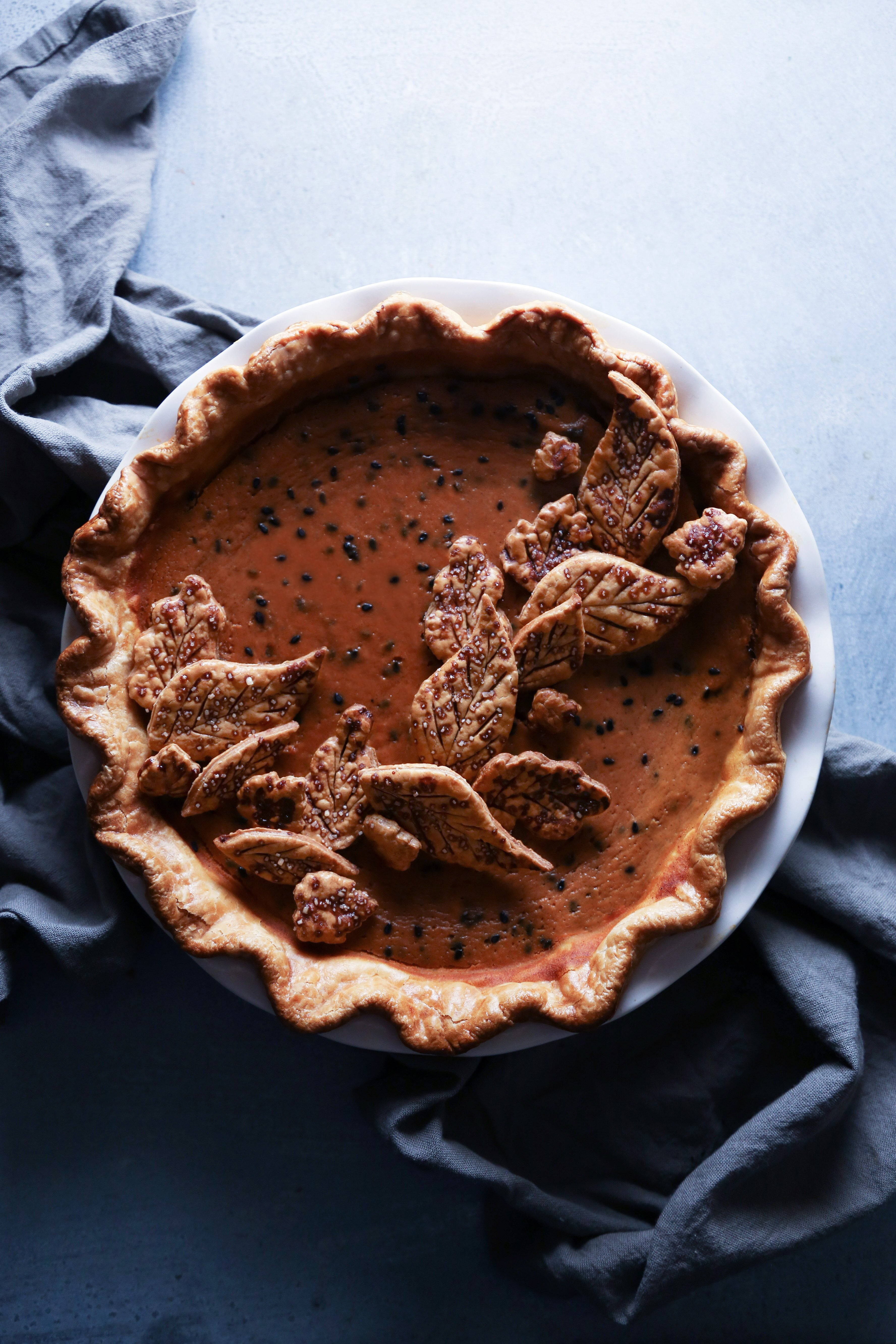 Pumpkin Pie with Black Sesame | Free of dairy and refined sugar. Gluten-free crust recipe included.