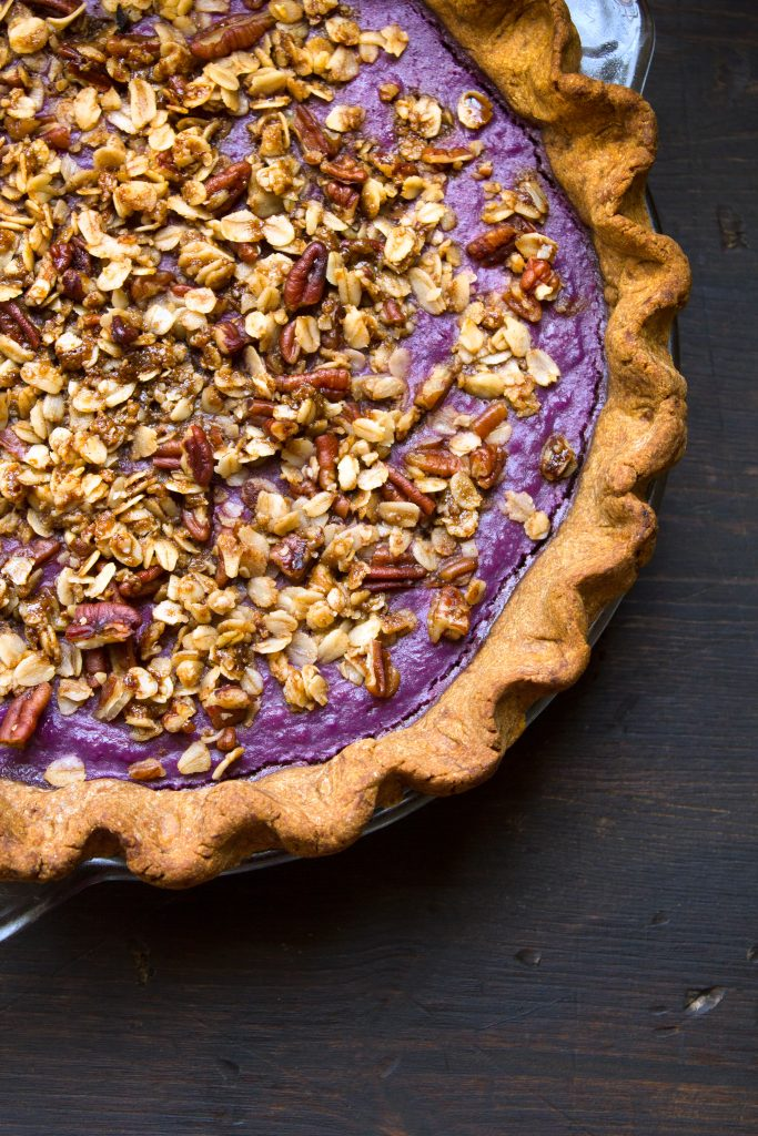 Purple Sweet Potato Pie with Gingerbread Crust and Pecan Streusel - Wife Mama Foodie