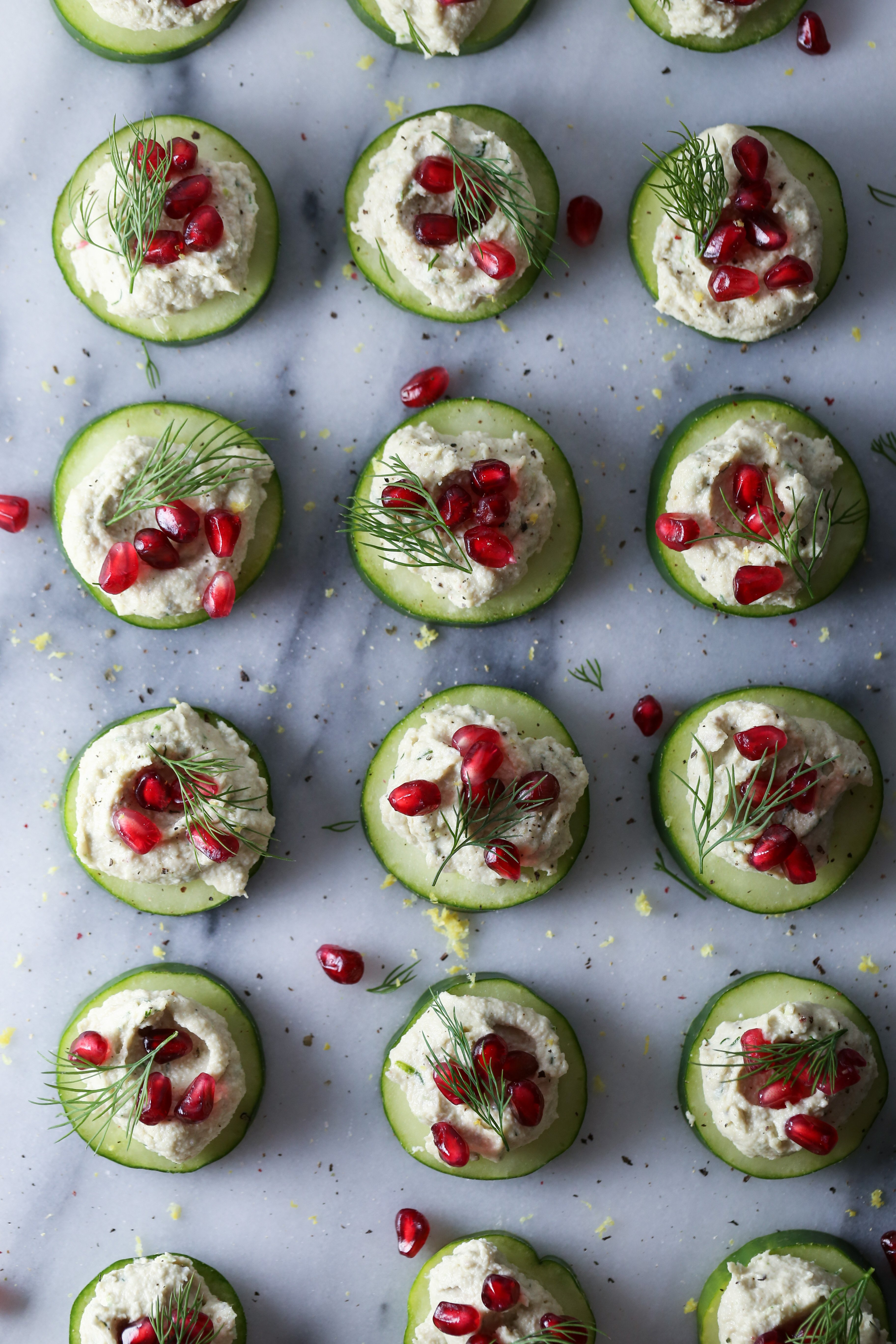 Herb Cashew Cheese and Pomegranate Cucumber Bites | Grain, gluten, & dairy free. Paleo/Whole 30 & vegan friendly.