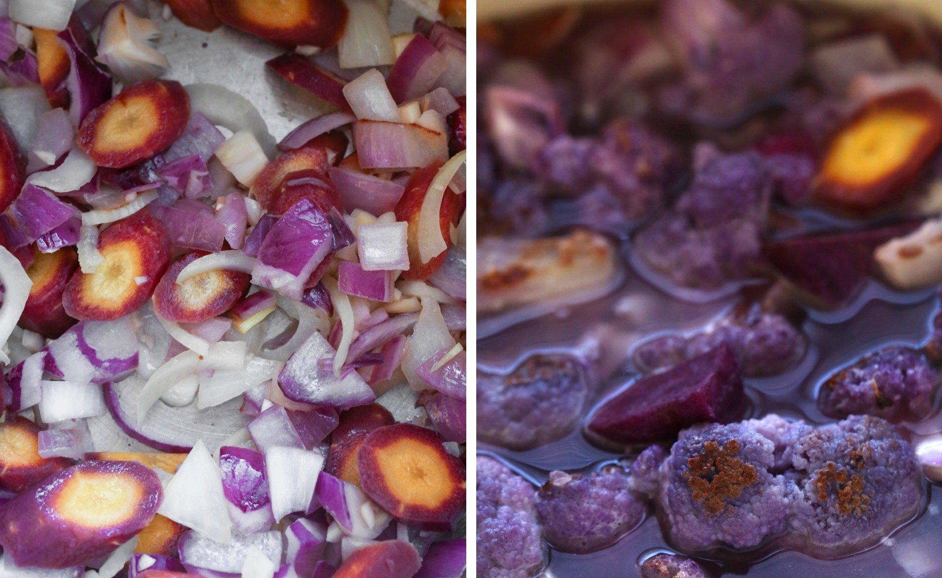 Roasted Purple Potato & Cauliflower Soup | Vegan and Paleo Friendly