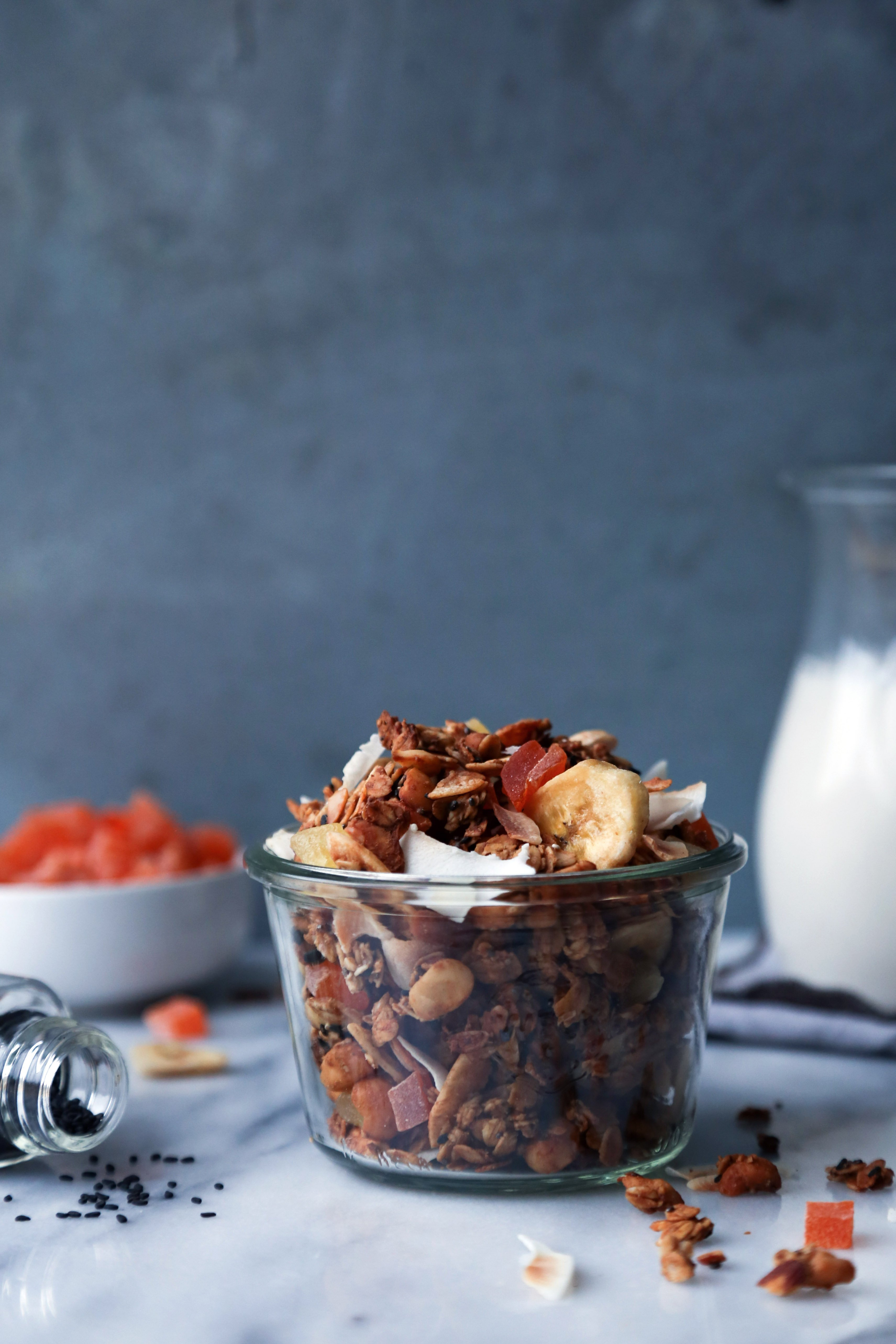 Tropical Granola Sweetened With Fruit | Gluten, dairy, and refined sugar free. Can easily be made grain-free.
