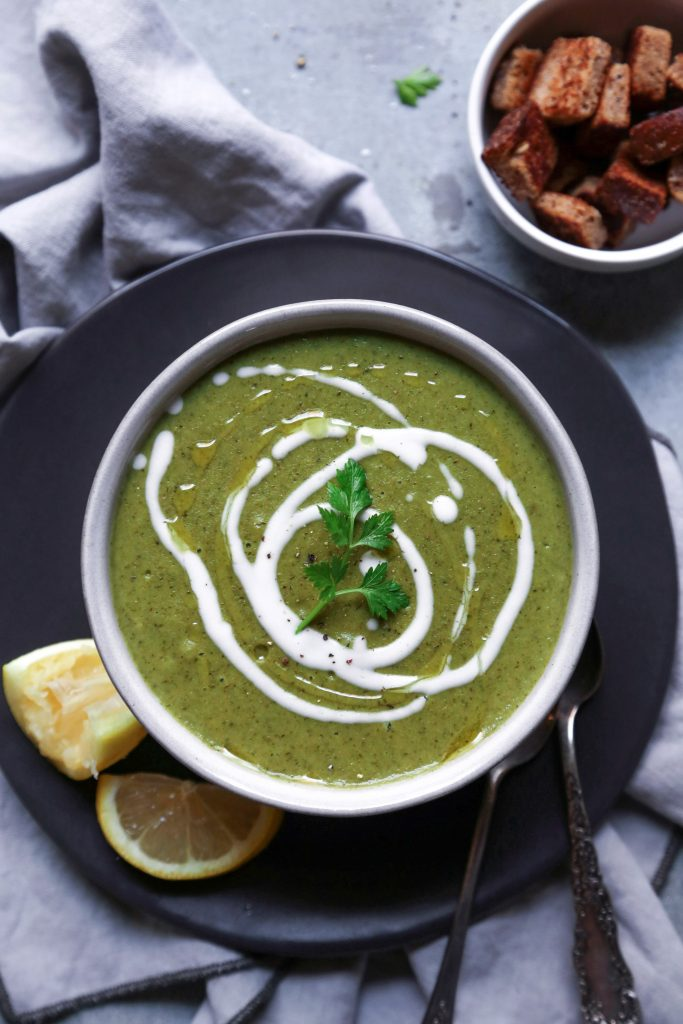 Creamed Broccoli & Spinach Soup | Free of gluten, grains, & dairy | Vegan & Paleo Friendly