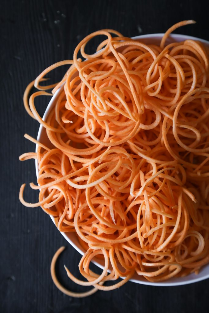 Stir-Fried Spiralized Sweet Potato Noodles | Grain, gluten, and dairy free. Paleo and vegan friendly