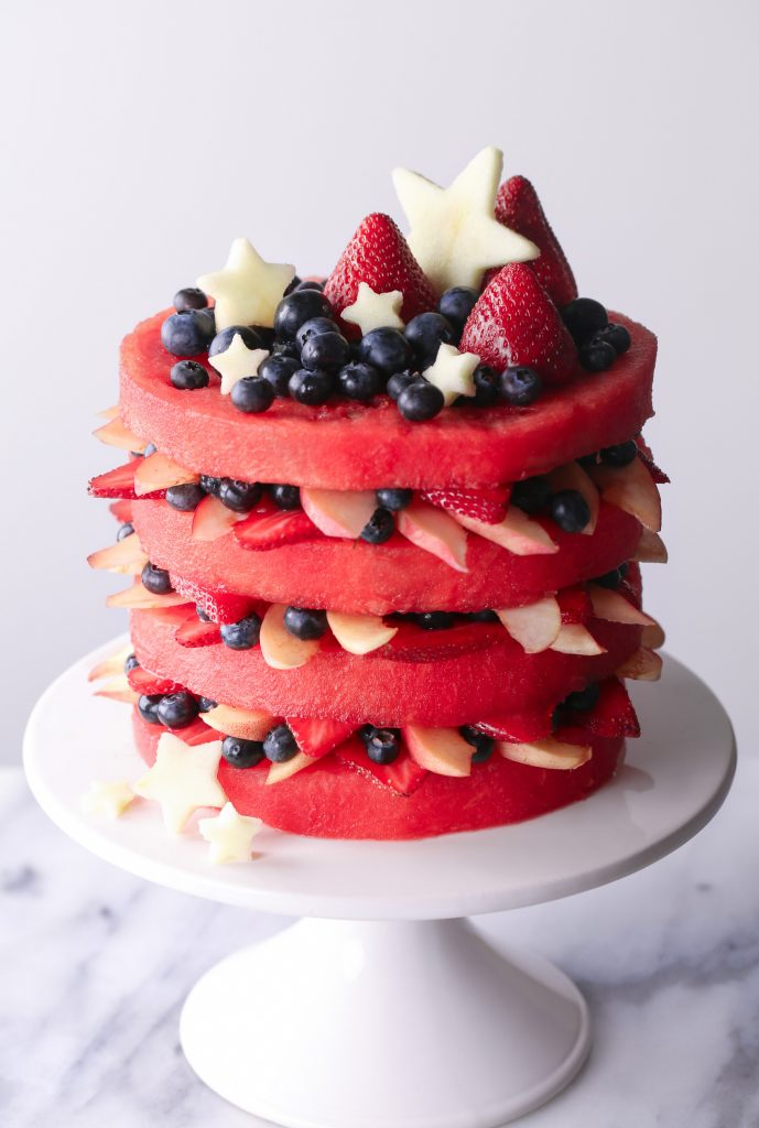 Fresh Watermelon Layer Cake | Perfect dessert for summer parties and BBQs!