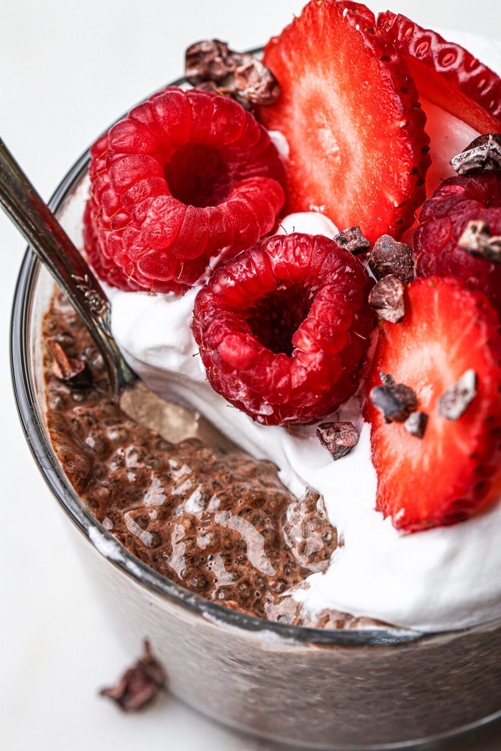 Chocolate Chia Pudding | Grain, gluten, dairy, and refined sugar free. Paleo and vegan friendly.