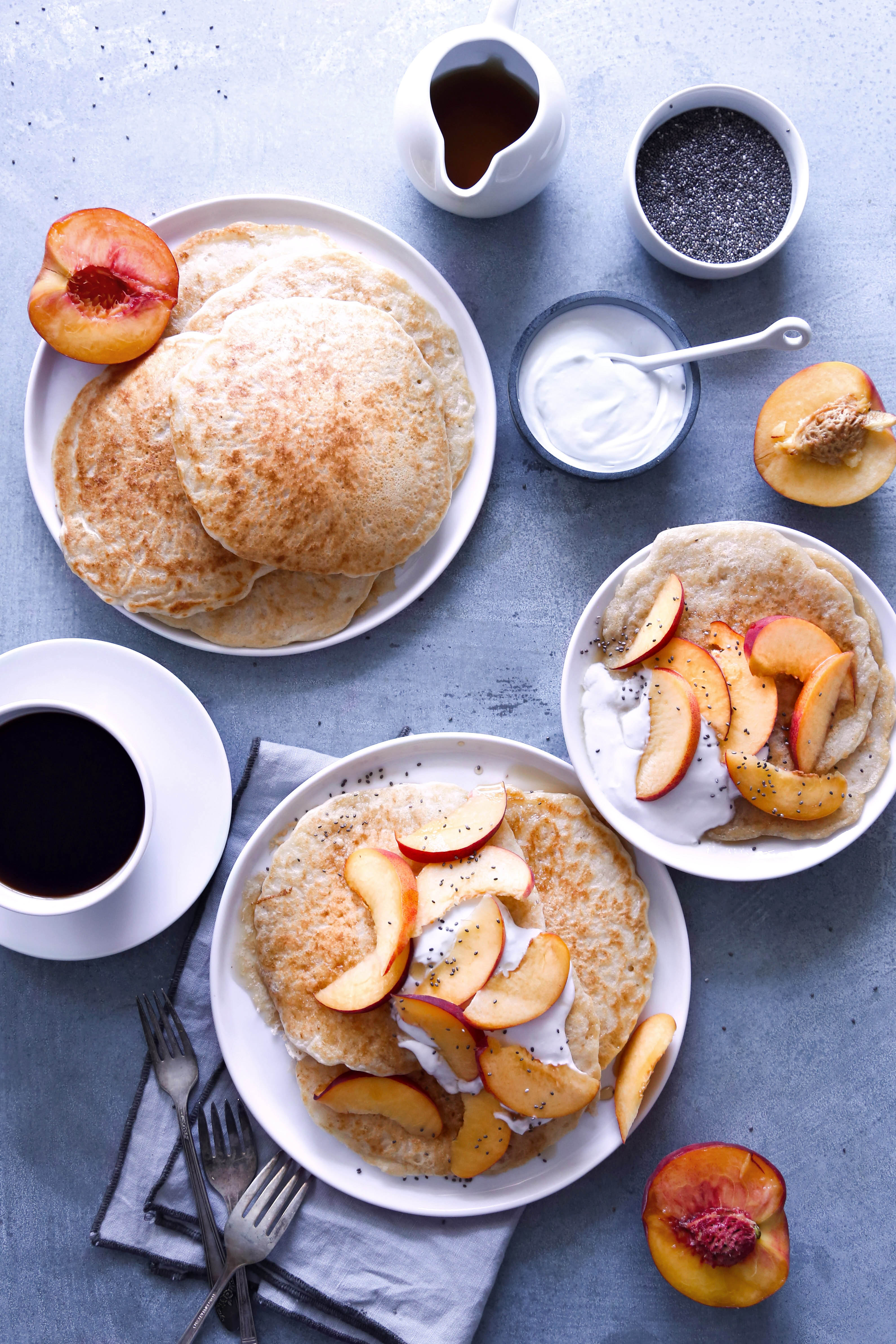 Vegan Pancakes with Peaches and Cream | Gluten-free option included.