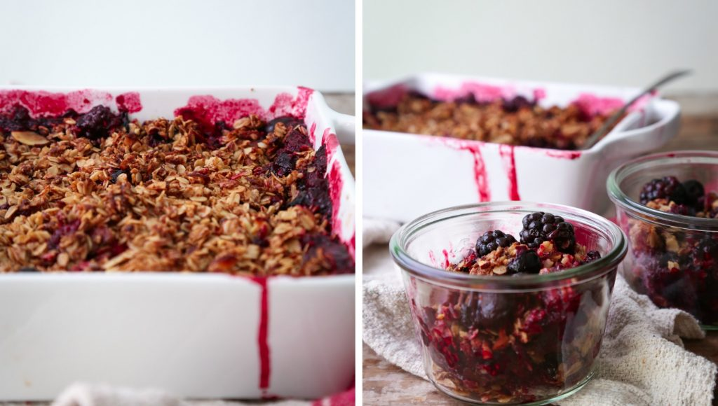 Summer Fruit Crisp | Vegan friendly and free of gluten, dairy, and refined sugar.