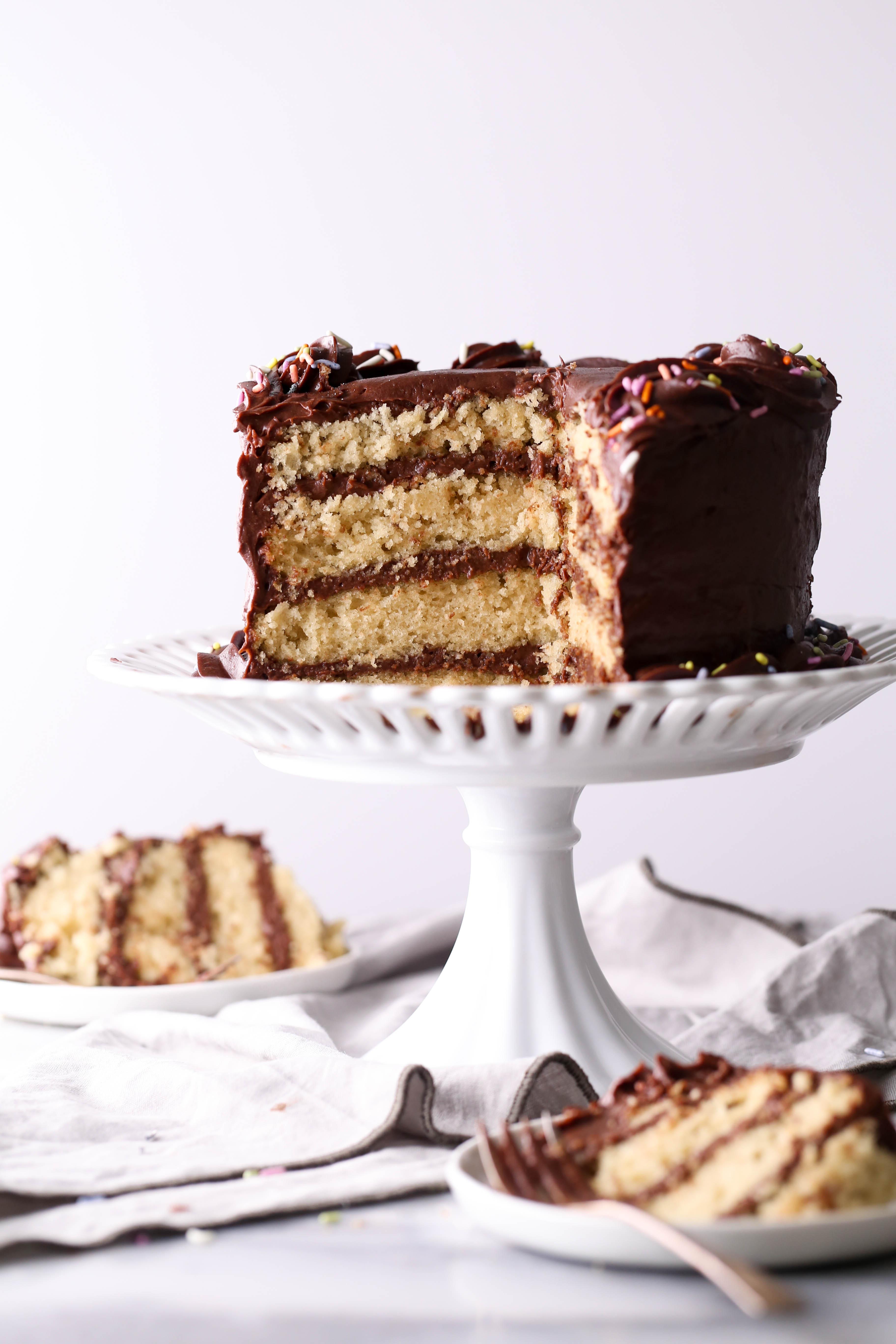 Vegan Vanilla Cake with Chocolate Frosting