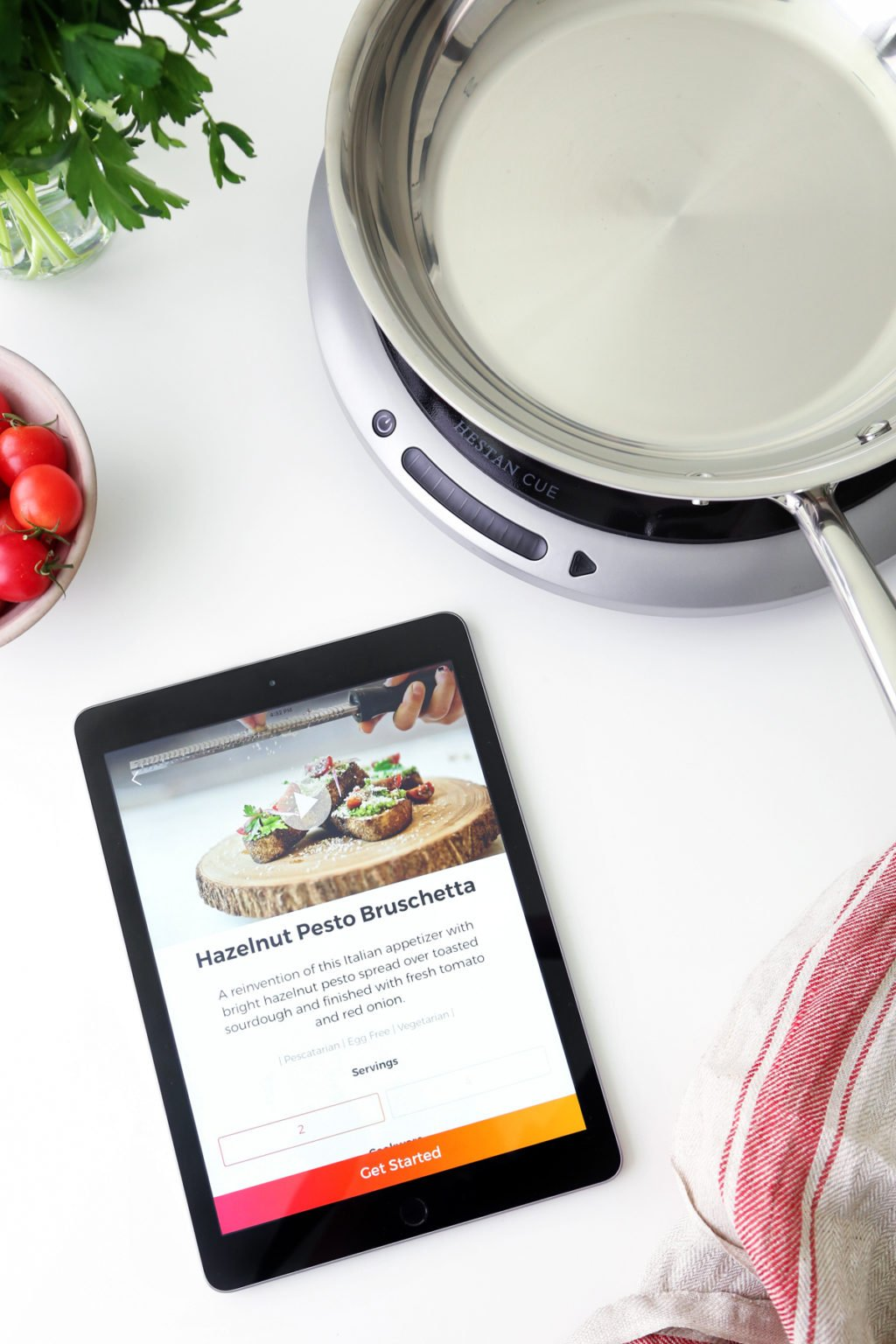 Hazelnut Pesto Bruschetta with the Hestan Cue | Wife Mama Foodie