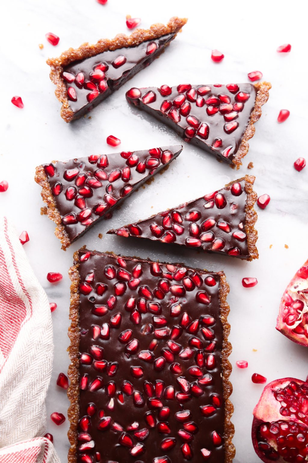 No Bake Chocolate Pomegranate Fudge Tart