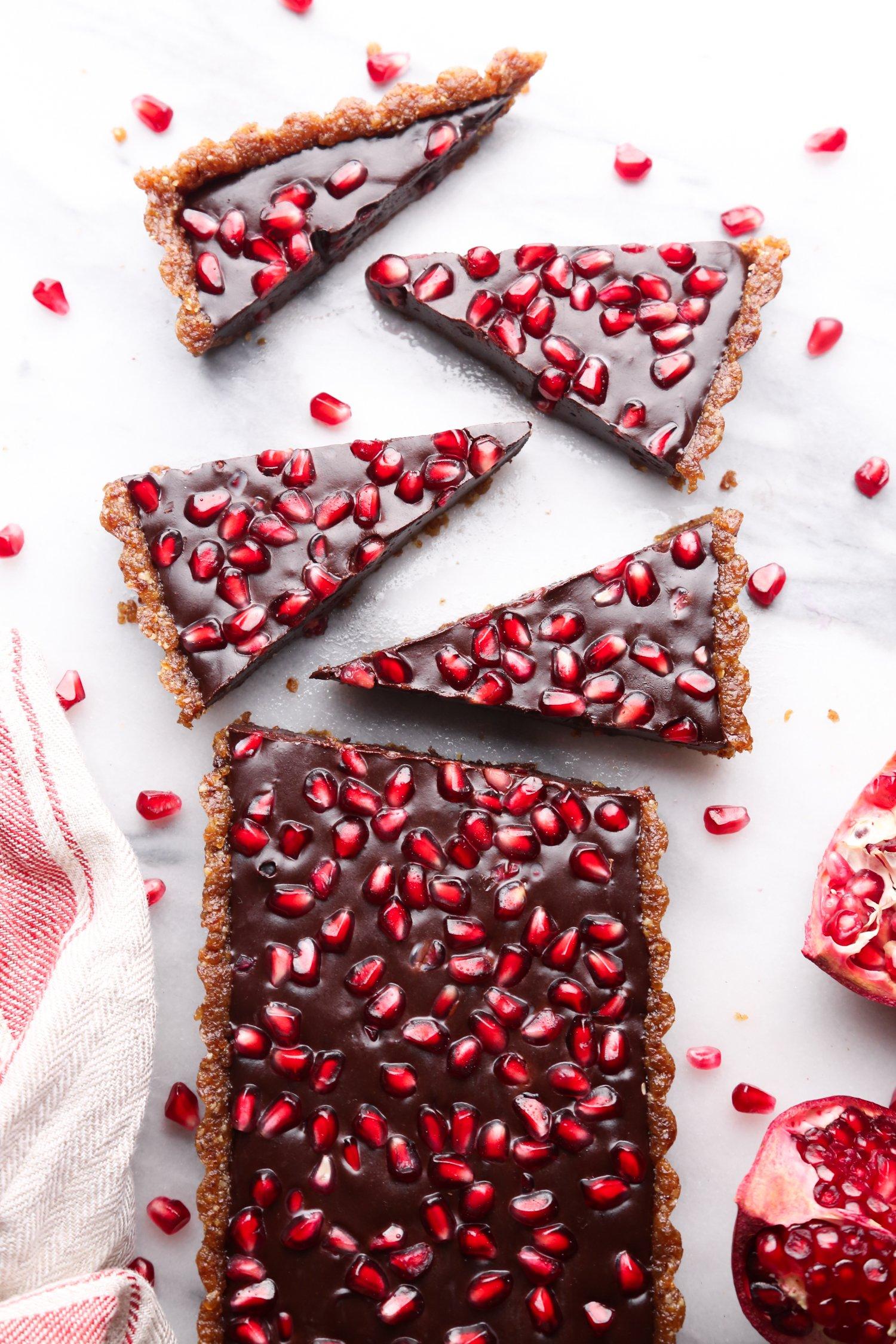 No-Bake Chocolate Pomegranate Fudge Tart - Wife Mama Foodie