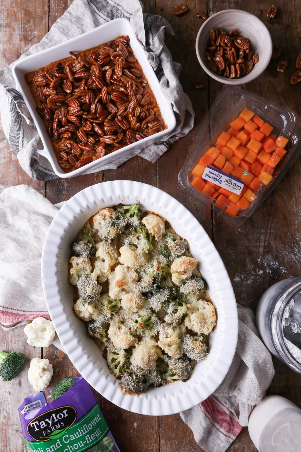 Maple Pecan Butternut Squash Casserole and Broccoli and Cauliflower Gratin | Wife Mama Foodie