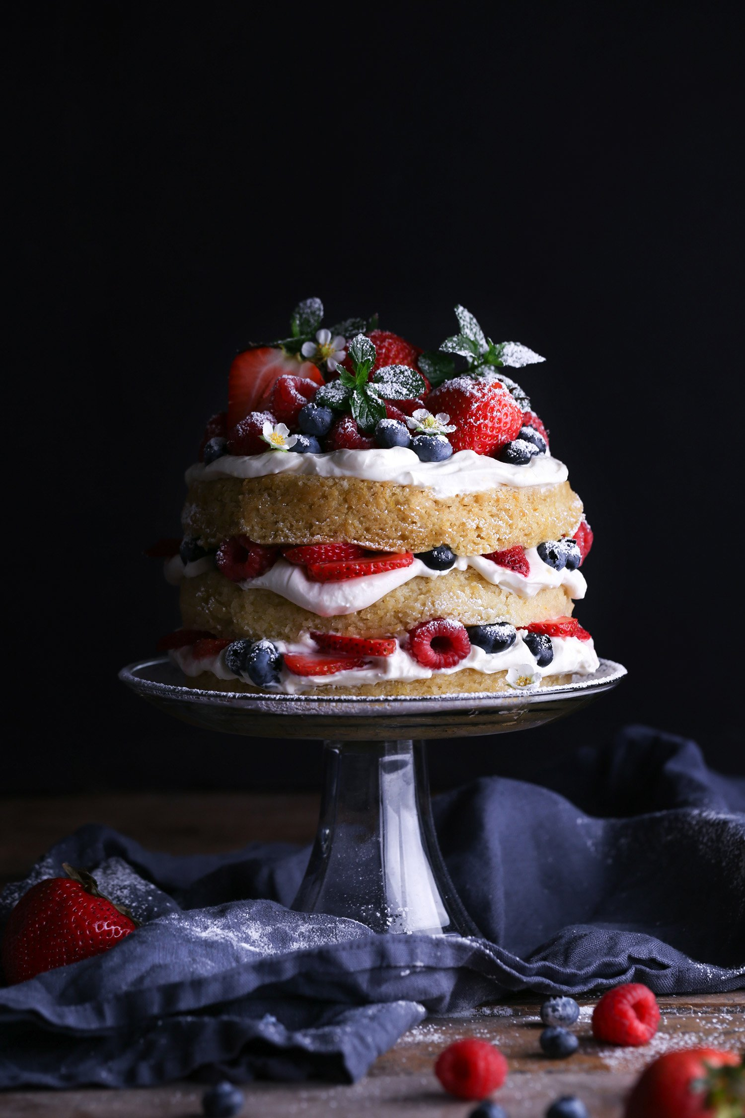 Vegan Lemon Cake with Fresh Berries