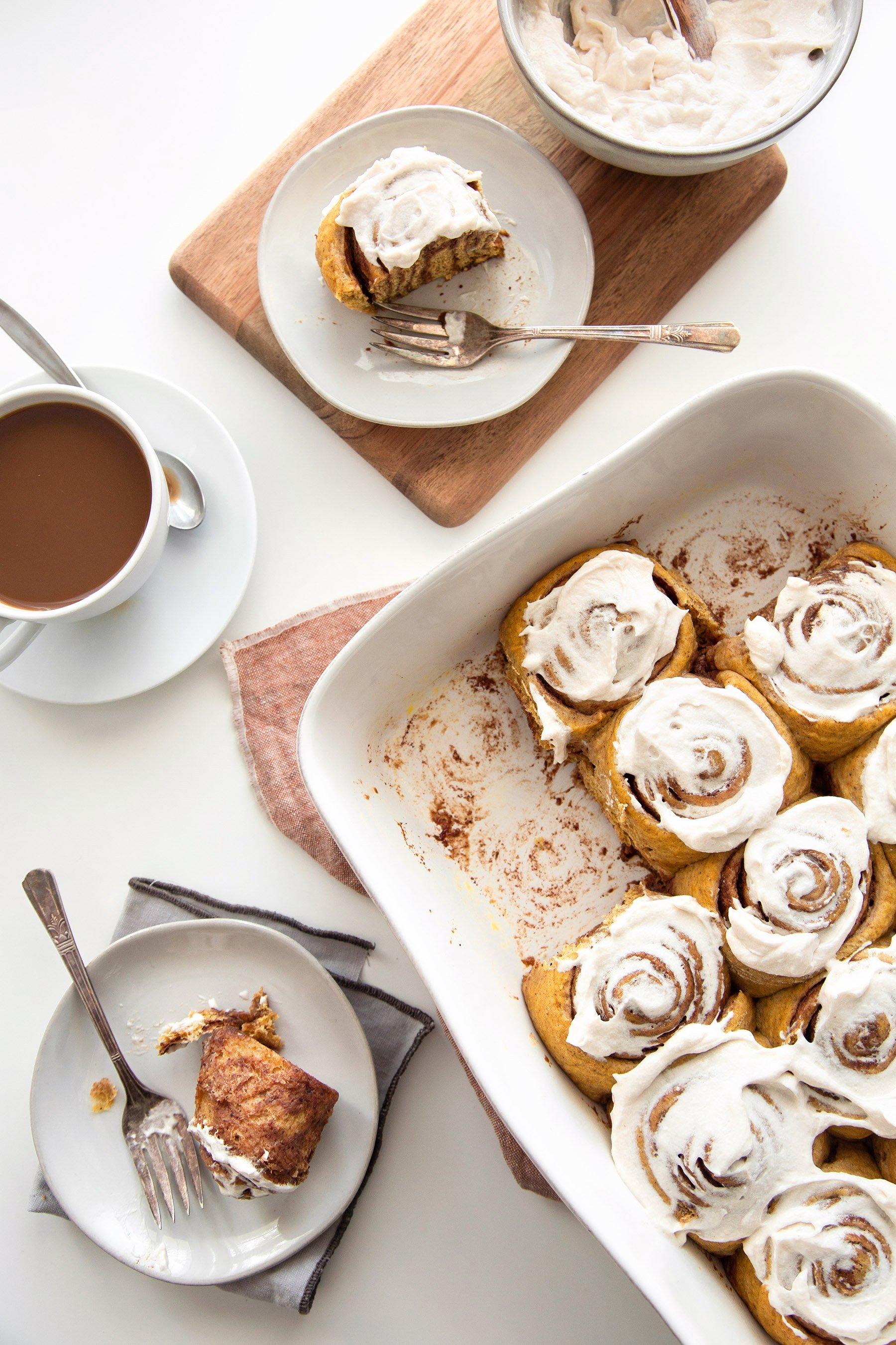 Pumpkin Cinnamon Rolls | Free of dairy, eggs, and refined sugar.