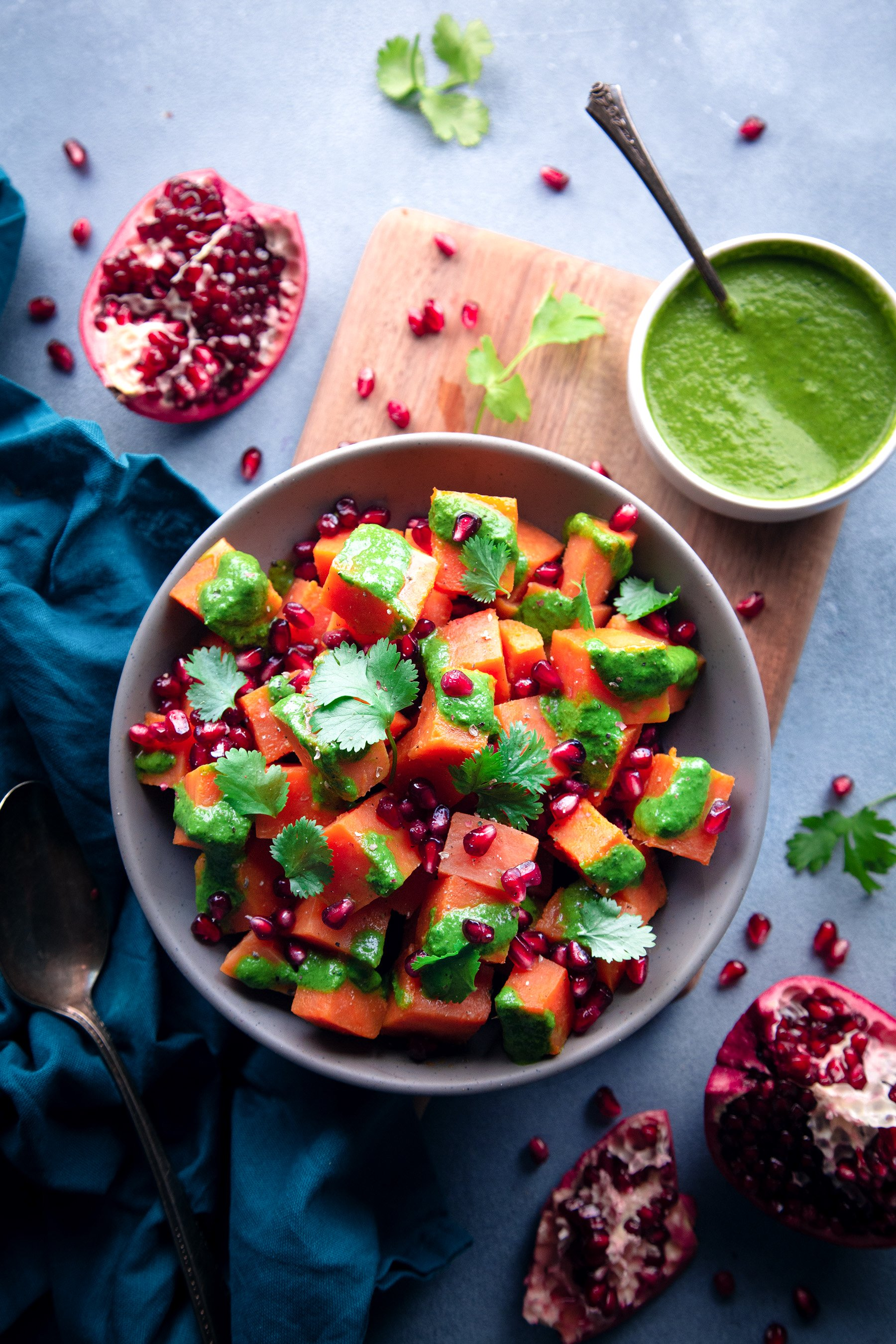 Sweet Potato Chaat with Cilantro Minto Yogurt Chutney