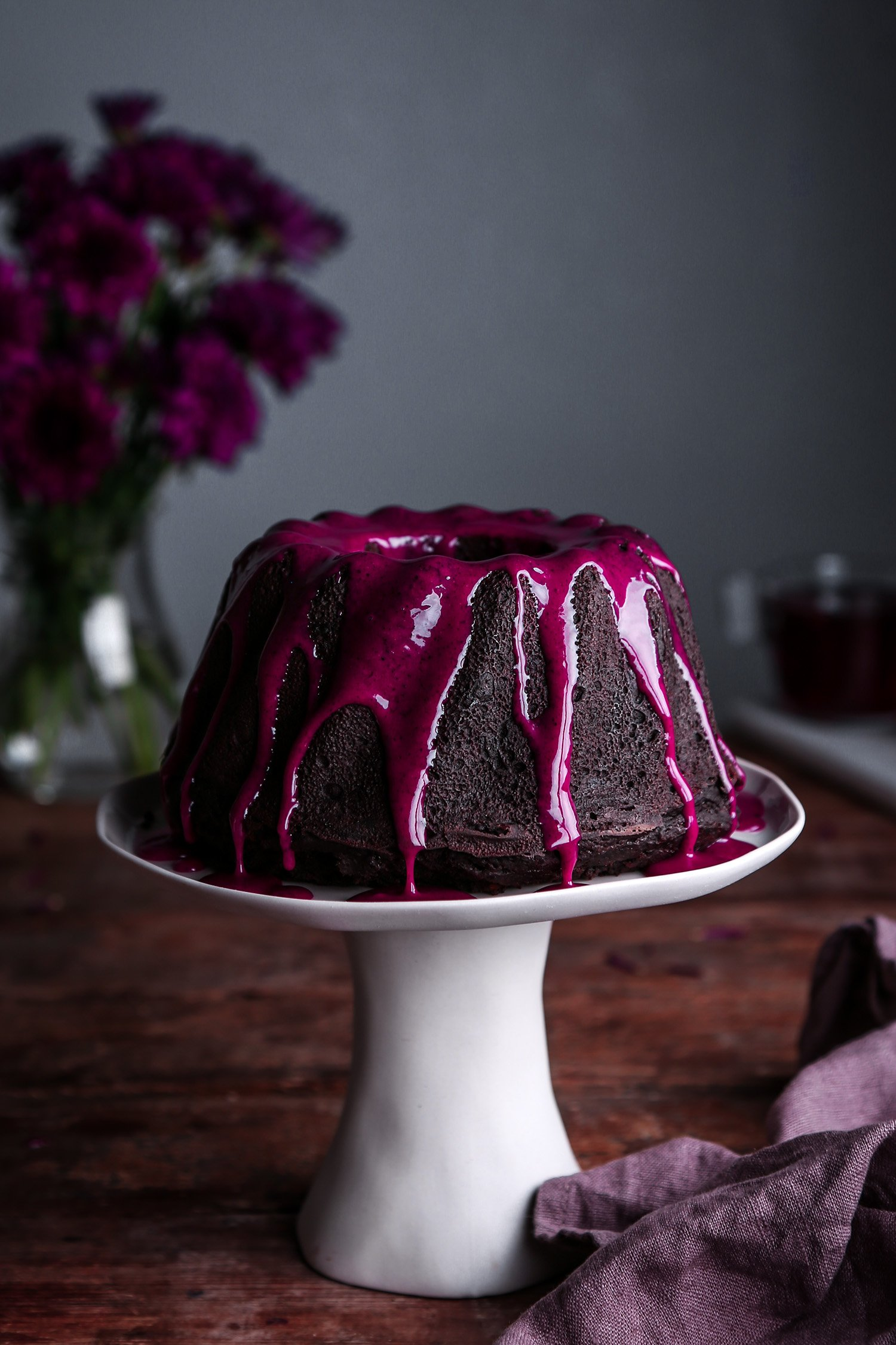 Chocolate Bundt Cake with Hibiscus Cream Cheese Glaze | Free of gluten, dairy, eggs, and refined sugar, plus vegan friendly